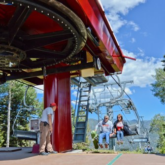 guests unloading the scenic summer chairlift