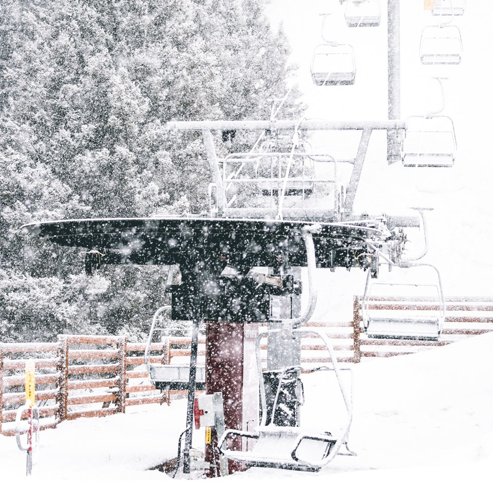 snow falling at platinum chair