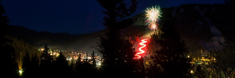torchlight parade on ski area and fireworks over the town of Red River New Mexico