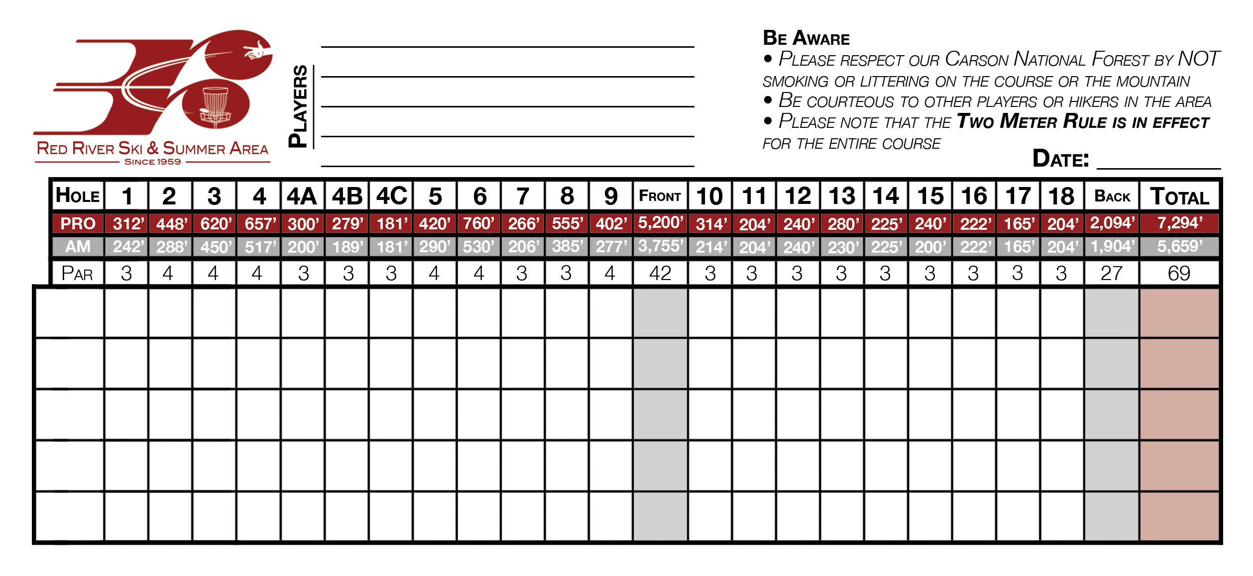 Red River disc golf score card